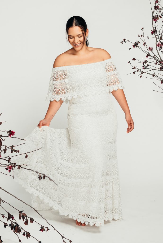 off shoulder curvy wedding dress